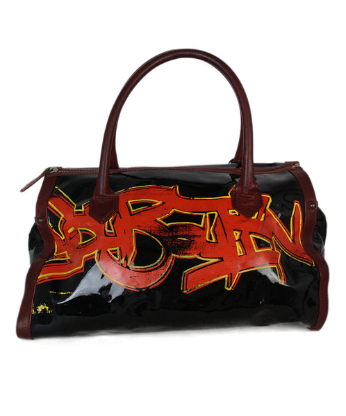 Christian Louboutin Black Red Leather Graffiti Print Tote 1