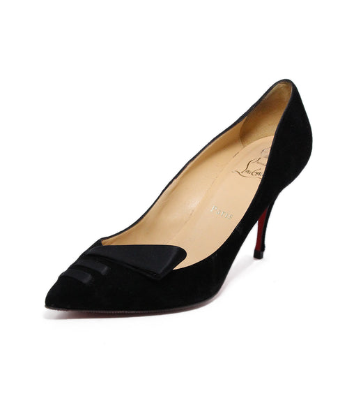 Christian Louboutin Black Suede Satin Trim Heels 1