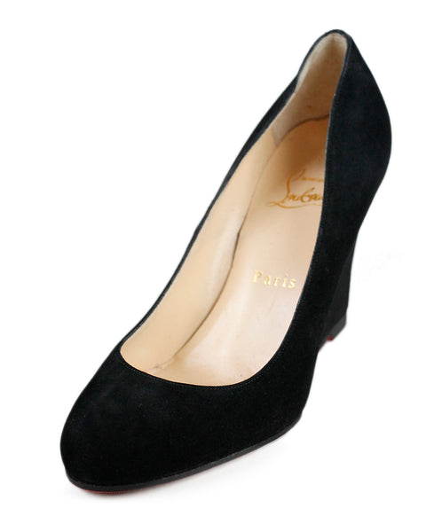 Christian Louboutin Black Suede Wedge Shoes Sz 36.5