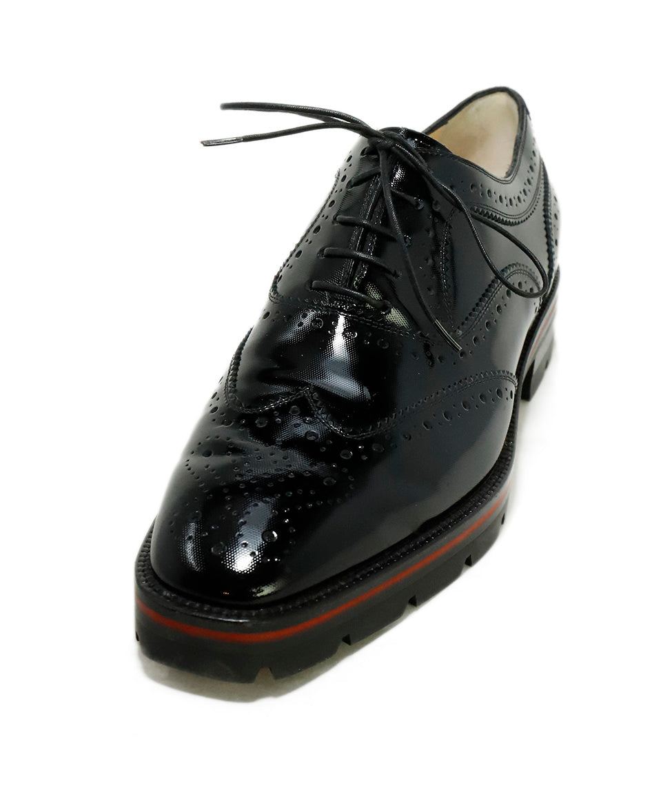 Christian Louboutin Black Patent Leather Wingtip Oxfords 1