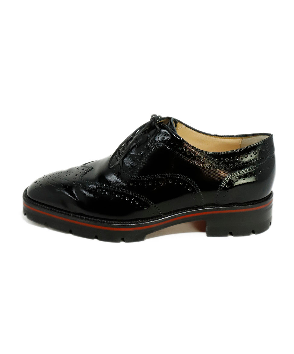 Christian Louboutin Black Patent Leather Wingtip Oxfords 2