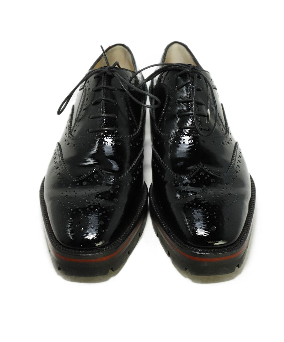 Christian Louboutin Black Patent Leather Wingtip Oxfords 4