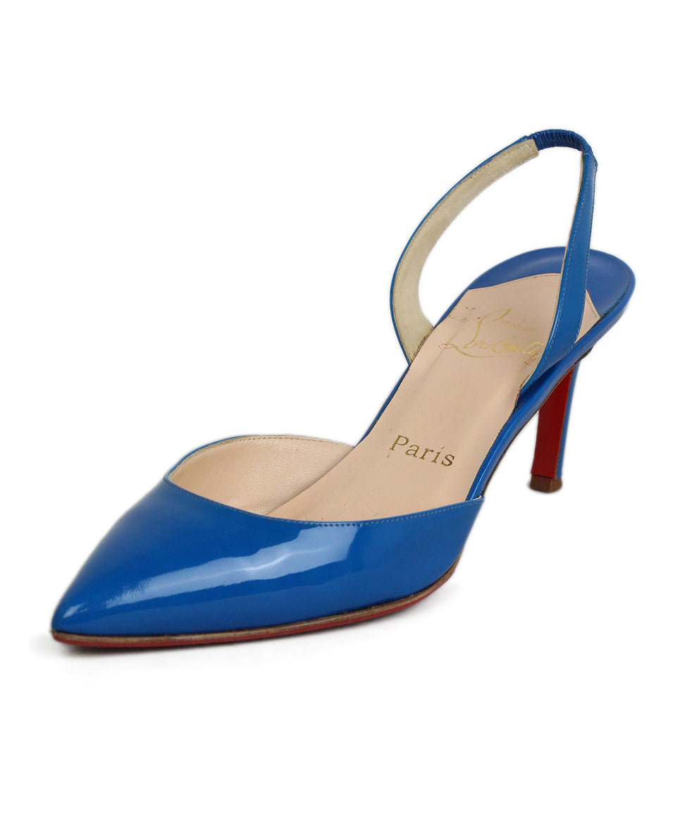 Christian Louboutin Blue Leather Sling Back Heels 1