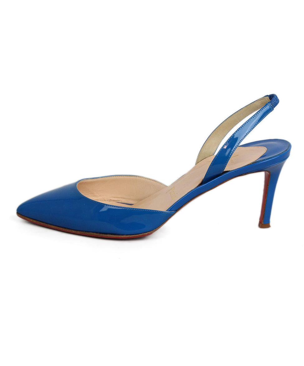 Christian Louboutin Blue Leather Sling Back Heels 2