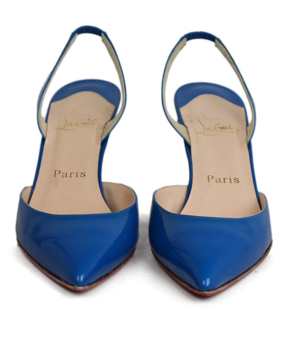 Christian Louboutin Blue Leather Sling Back Heels 3