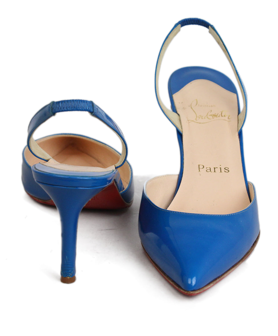 Christian Louboutin Blue Leather Sling Back Heels 4