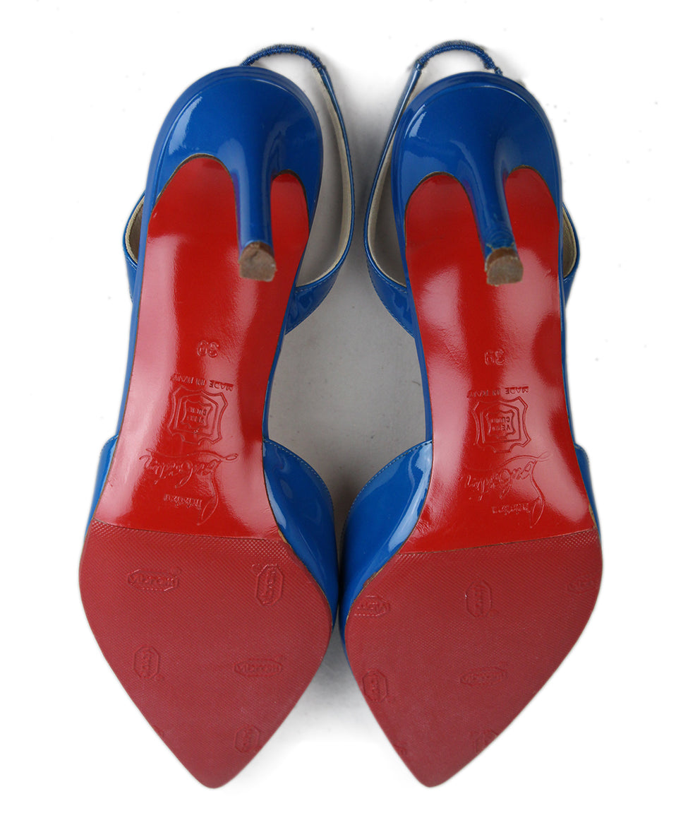 Christian Louboutin Blue Leather Sling Back Heels 5