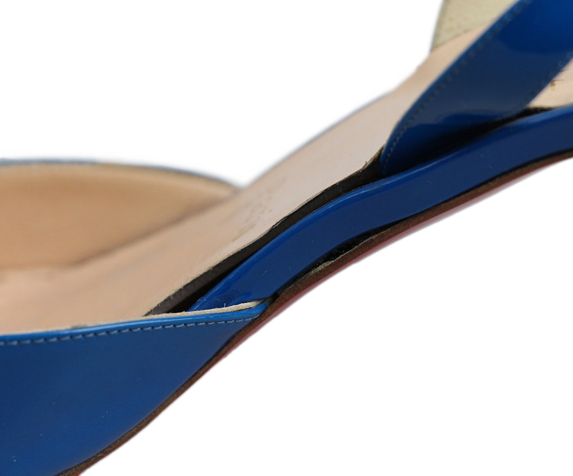 Christian Louboutin Blue Leather Sling Back Heels 8