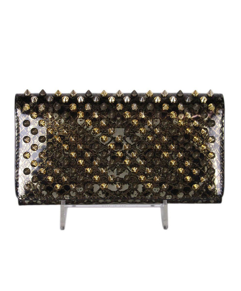 Christian Louboutin Bronze Brown Leather Spike Wallet 1