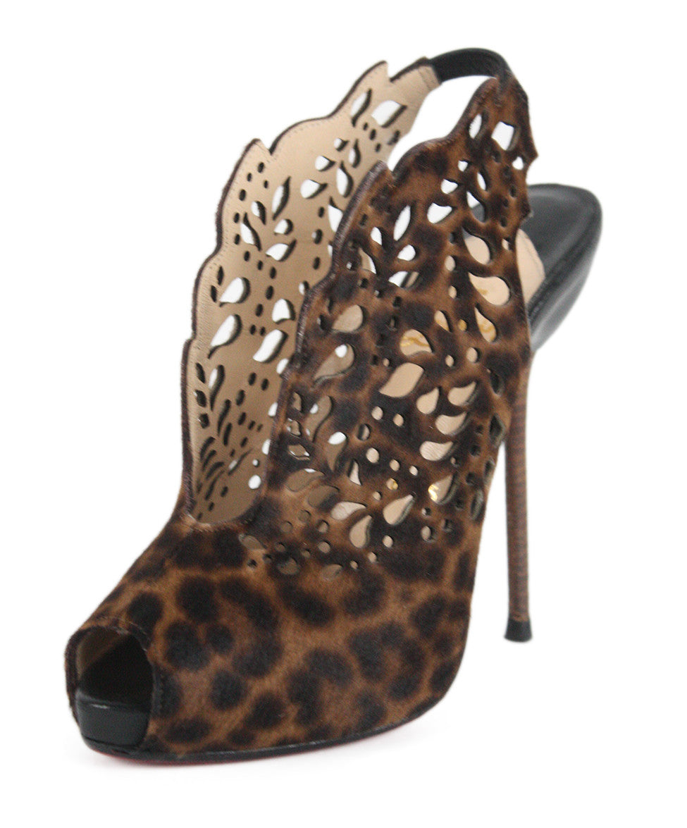 "Christian Louboutin Brown Animal Print ""Markesling""  Shoes Sz 34 - Michael's Consignment NYC  - 1"