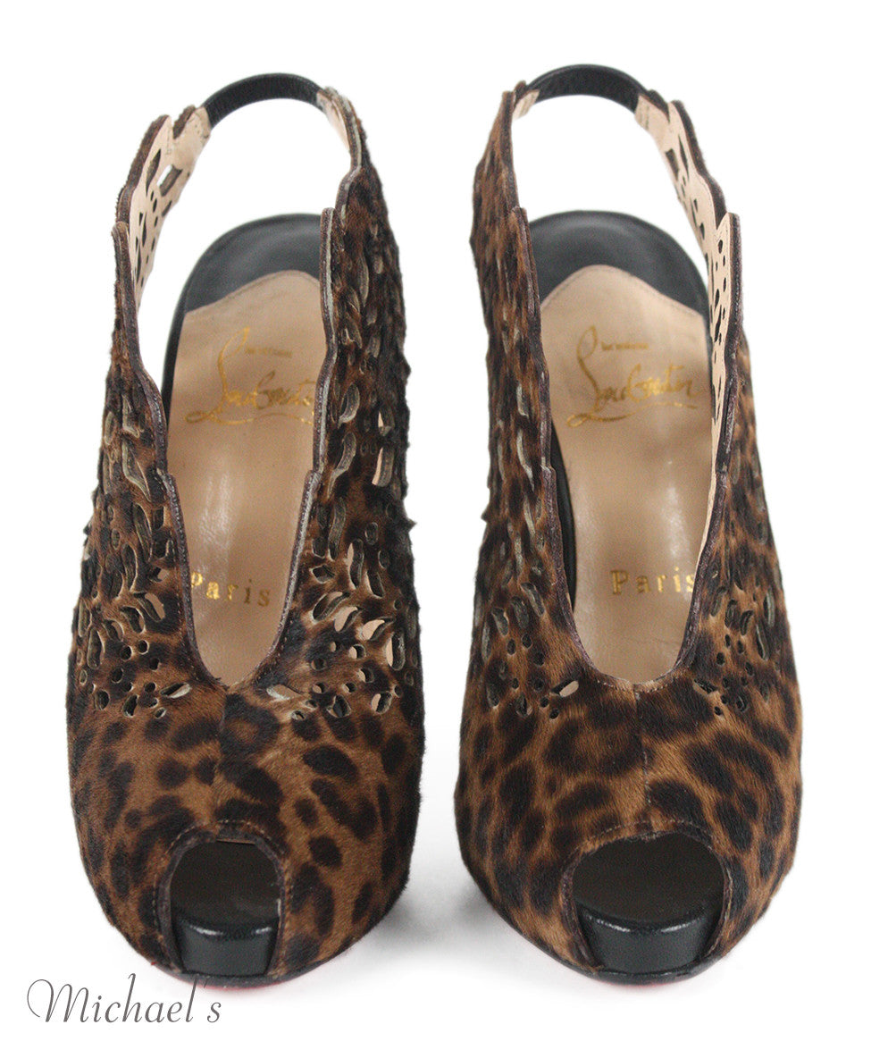 "Christian Louboutin Brown Animal Print ""Markesling""  Shoes Sz 34 - Michael's Consignment NYC  - 4"
