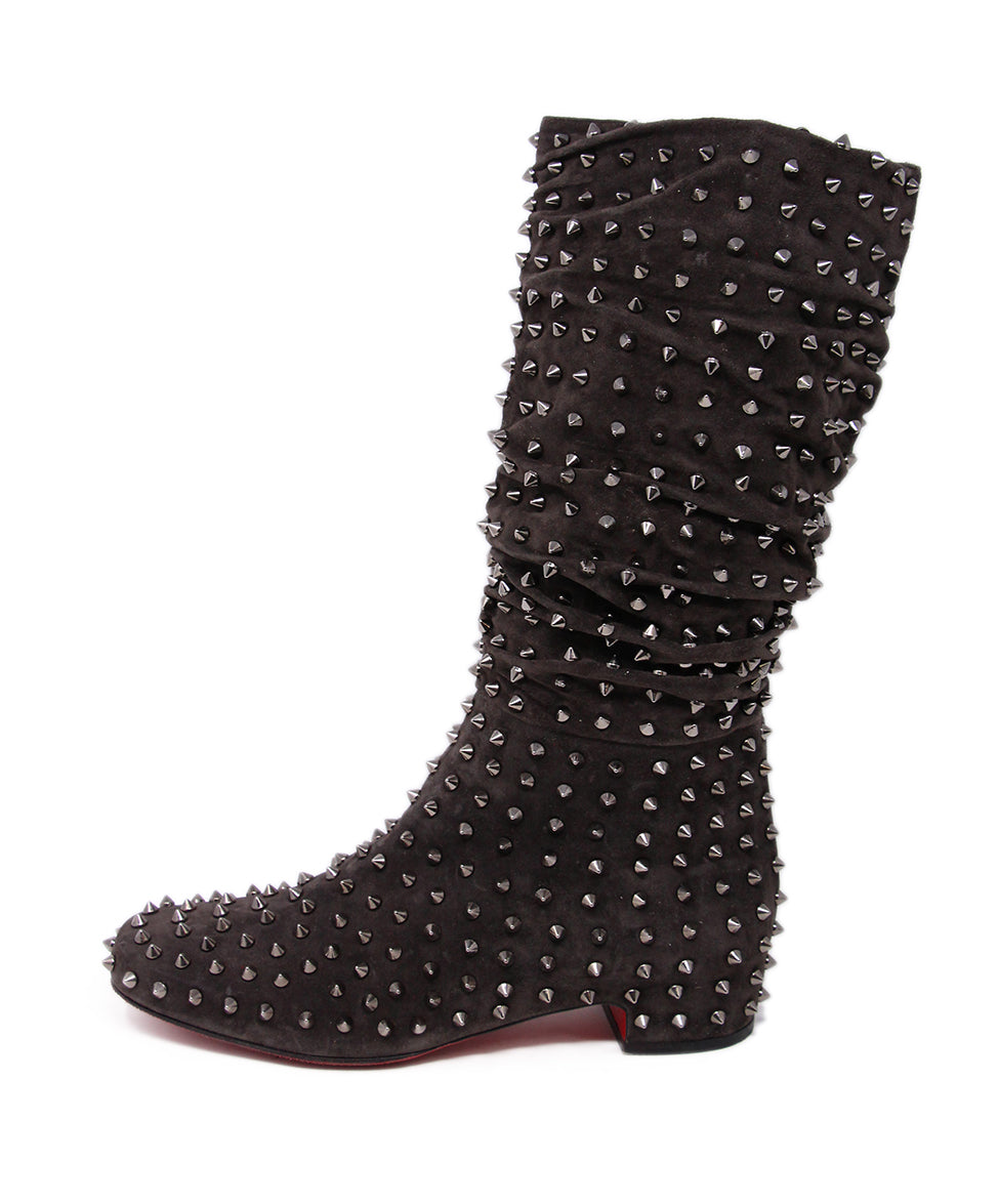 Christian Louboutin Brown Chocolate Suede Stud Boots 2