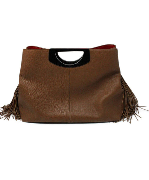 Christian Louboutin Passage Shopping Tote Brown Leather Fringe Detail Satchel 2