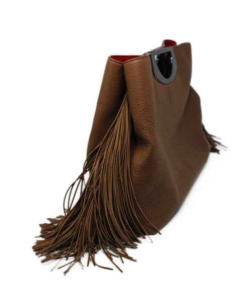 Christian Louboutin Passage Shopping Tote Brown Leather Fringe Detail Satchel 3