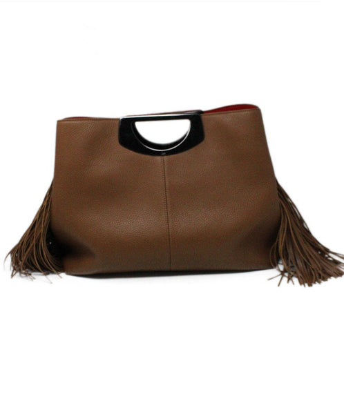 Christian Louboutin Passage Shopping Tote Brown Leather Fringe Detail Satchel 4