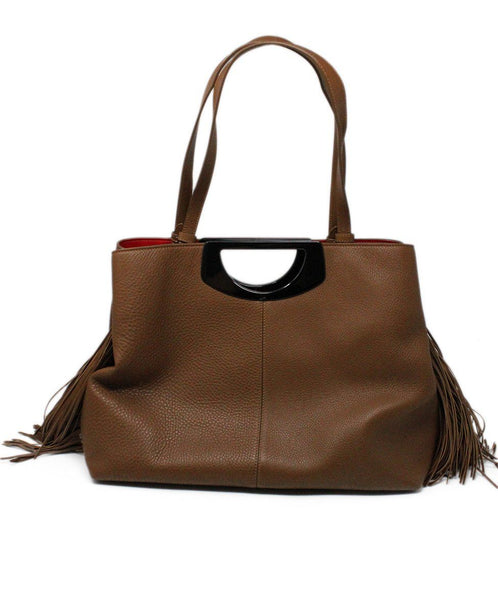 Christian Louboutin Passage Shopping Tote Brown Leather Fringe Detail Satchel 1