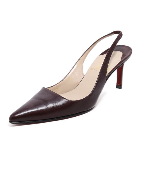 Christian Louboutin Brown Leather Sling Back Heels 1