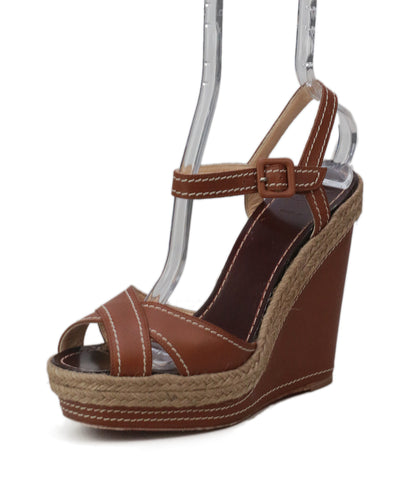 Christian Louboutin Brown Leather Wedges Sandals 1