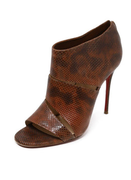 Heels Christian Louboutin Shoe Brown Pressed Leather Peep Toe Shoes
