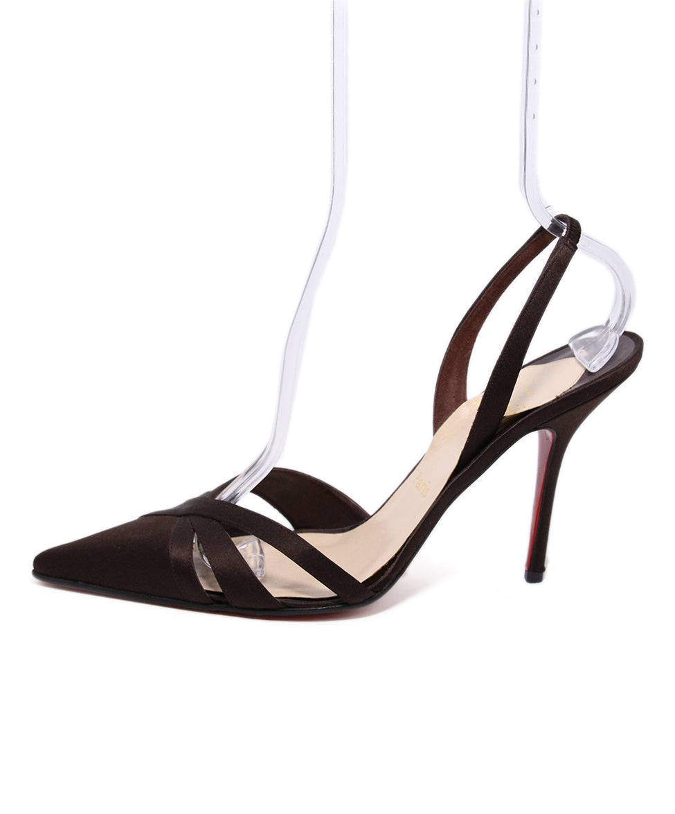 Christian Louboutin Brown Silk Sling Back Heels 2