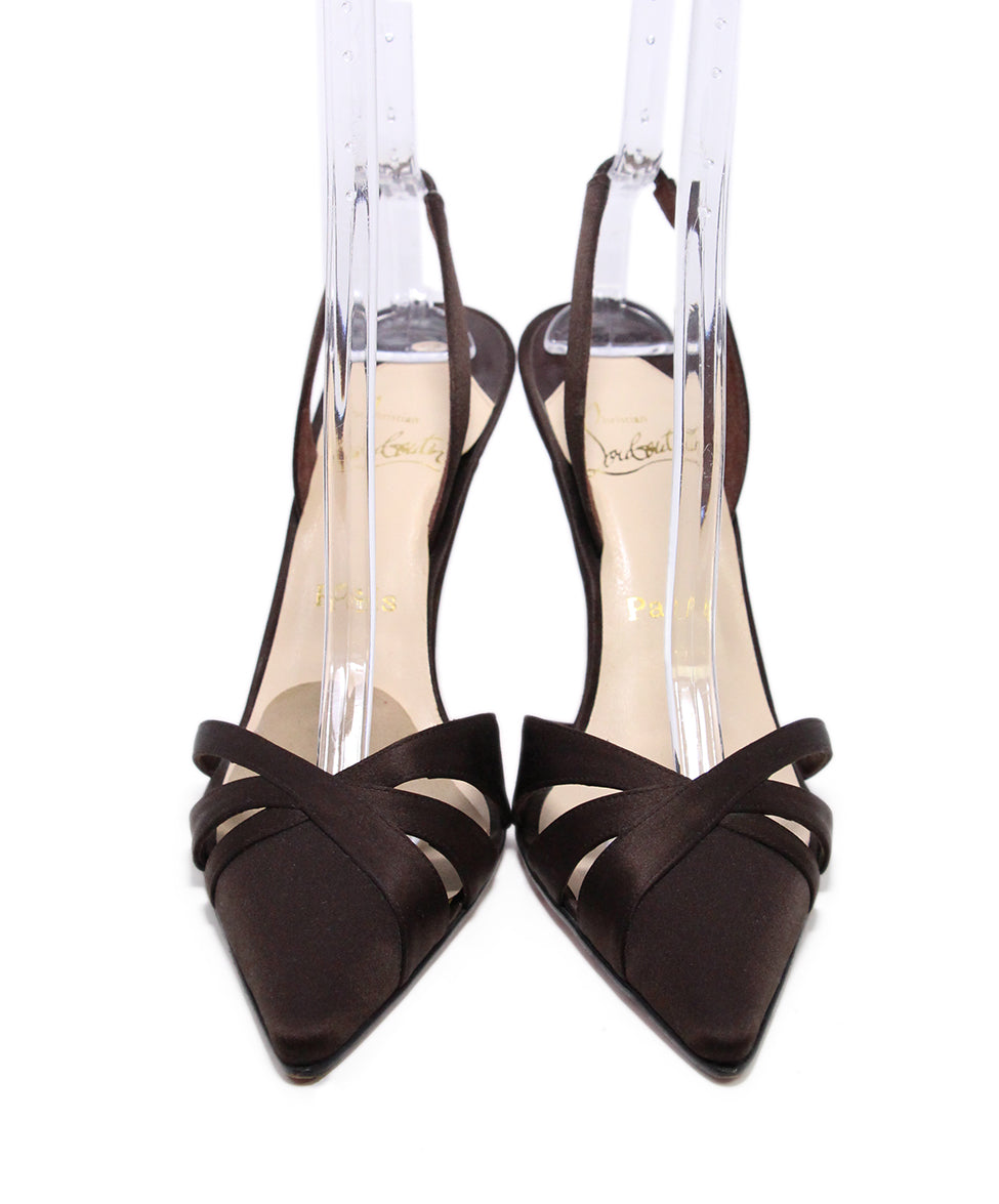 Christian Louboutin Brown Silk Sling Back Heels 4