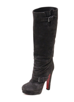 Christian Louboutin Brown Suede Leather Platform Boots