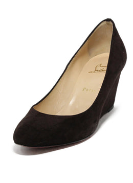 Christian Louboutin Brown Suede Wedges 1