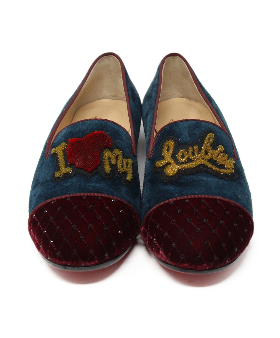 Christian Louboutin Burgundy Velvet Shoes 4