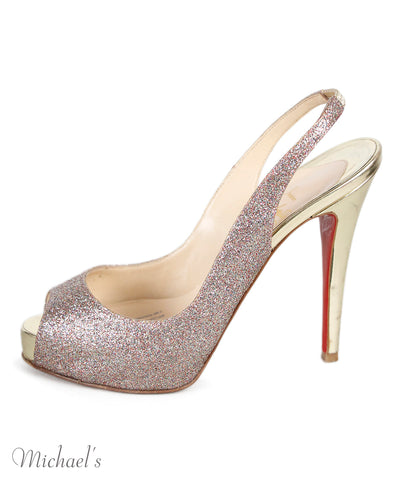 Christian Louboutin Gold Glitter Shoes Sz 36