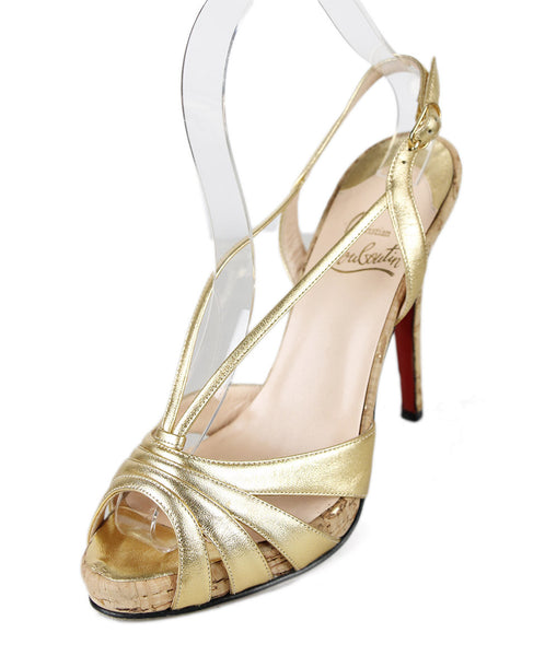 Christian Louboutin Gold Leather Cork Shoes Sz 37