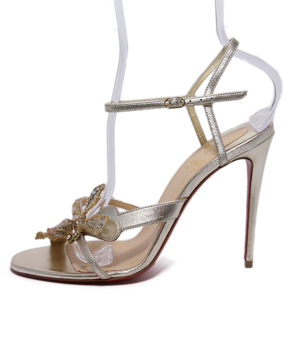 Christian Louboutin Gold Leather Rhinestone trim Shoes 2