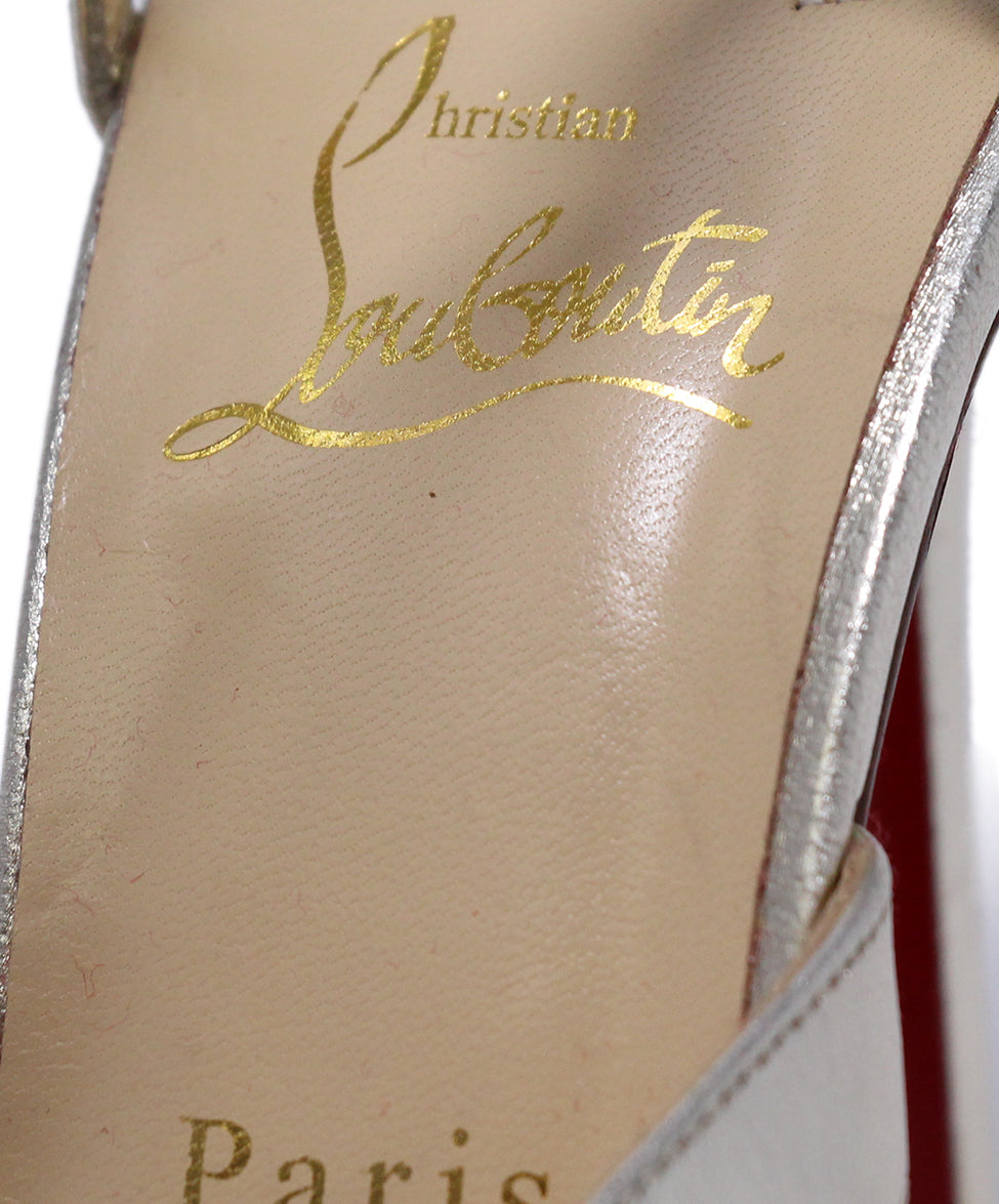 Christian Louboutin Gold Leather Rhinestone trim Shoes 7