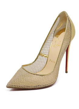 Heels Christian Louboutin Shoe Metallic Gold Leather Net Shoes