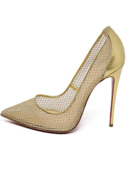 Heels Christian Louboutin Shoe Metallic Gold Leather Net Shoes 1