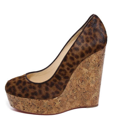 Christian Louboutin Leopard Pony Hair Cork Wedges 1