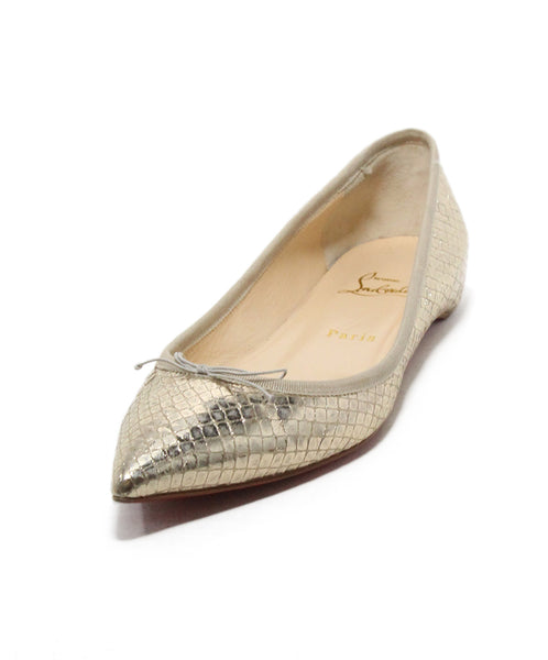 Christian Louboutin Metallic Gold Leather Flats 1