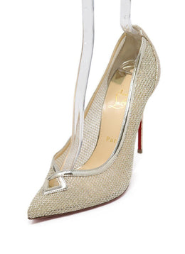 Christian Louboutin Metallic Gold Net Leather Heels