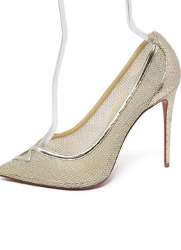 Christian Louboutin Metallic Gold Net Leather Heels 1