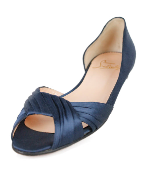 Christian Louboutin Flats US 8.5 Blue Navy Satin Shoes