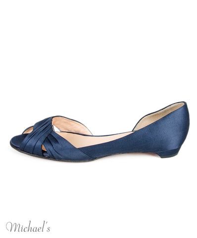 Christian Louboutin Blue Navy Satin Flats Shoes Sz 38.5