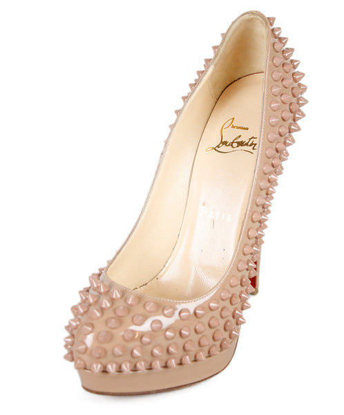Christian Louboutin Beige Patent Leather Studs Shoes Sz 37