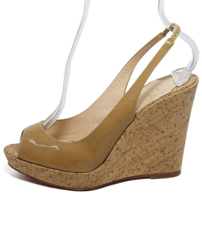 Christian Louboutin Neutral Patent Leather Cork Heels 1