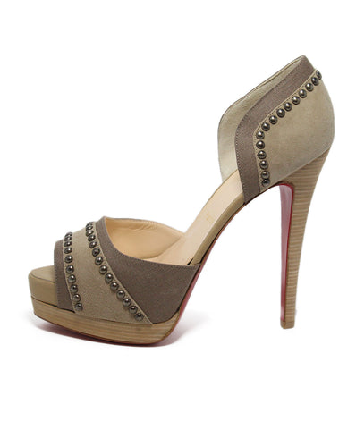 Christian Louboutin Neutral Suede Studded Canvas Heels 1