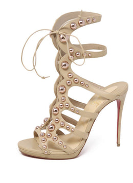 Heels Christian Louboutin Neutral Tan Leather Rose Metal Shoes 1