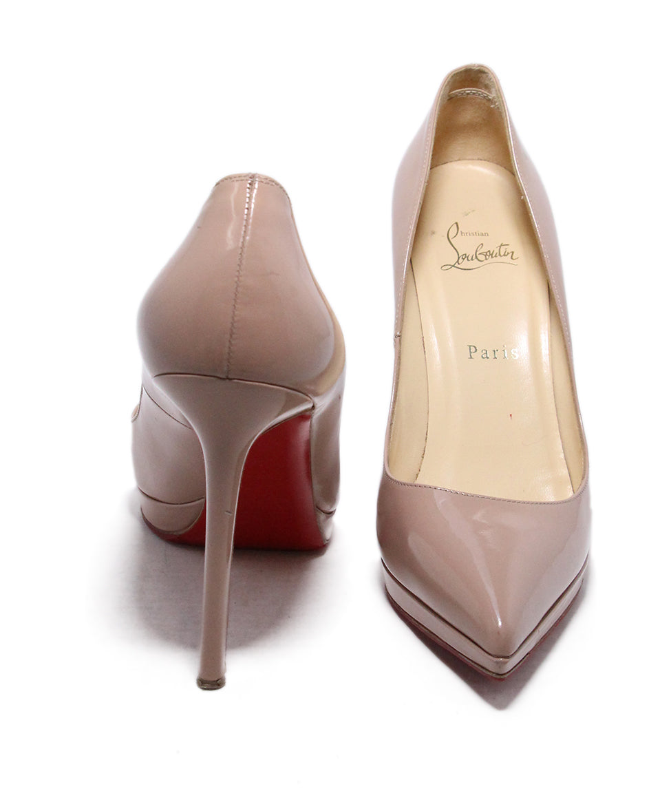 Christian Louboutin Neutral Tan Patent Leather Heels 3