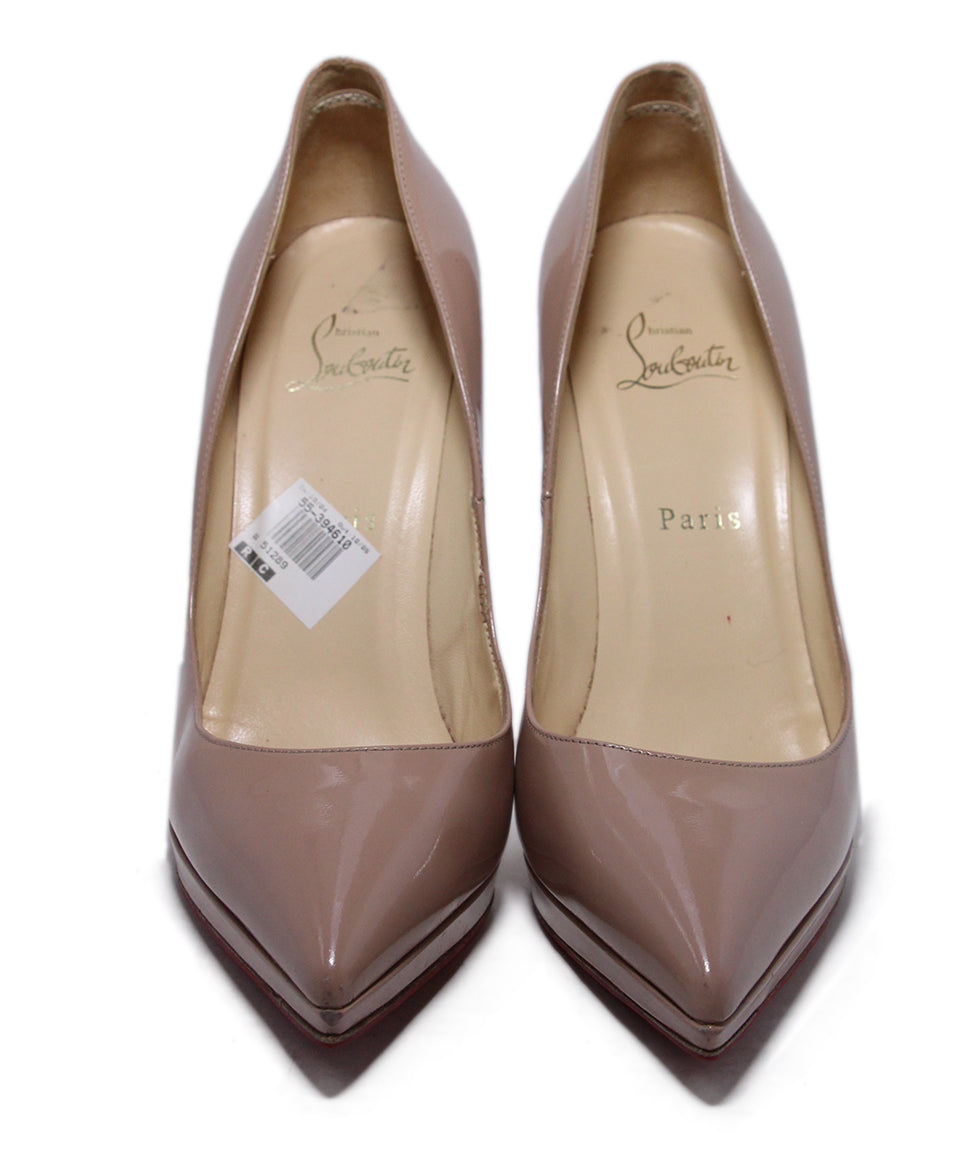 Christian Louboutin Neutral Tan Patent Leather Heels 4