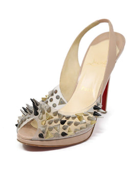 Heels Christian Louboutin Shoe Neutral Tan Patent Metal Spikes Shoes