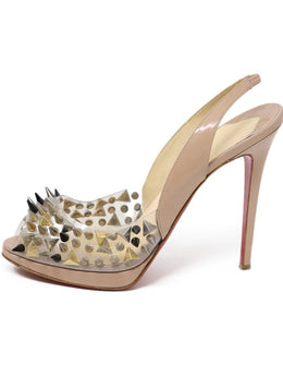 Heels Christian Louboutin Shoe Neutral Tan Patent Metal Spikes Shoes 1