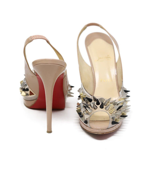 Heels Christian Louboutin Shoe Neutral Tan Patent Metal Spikes Shoes 3