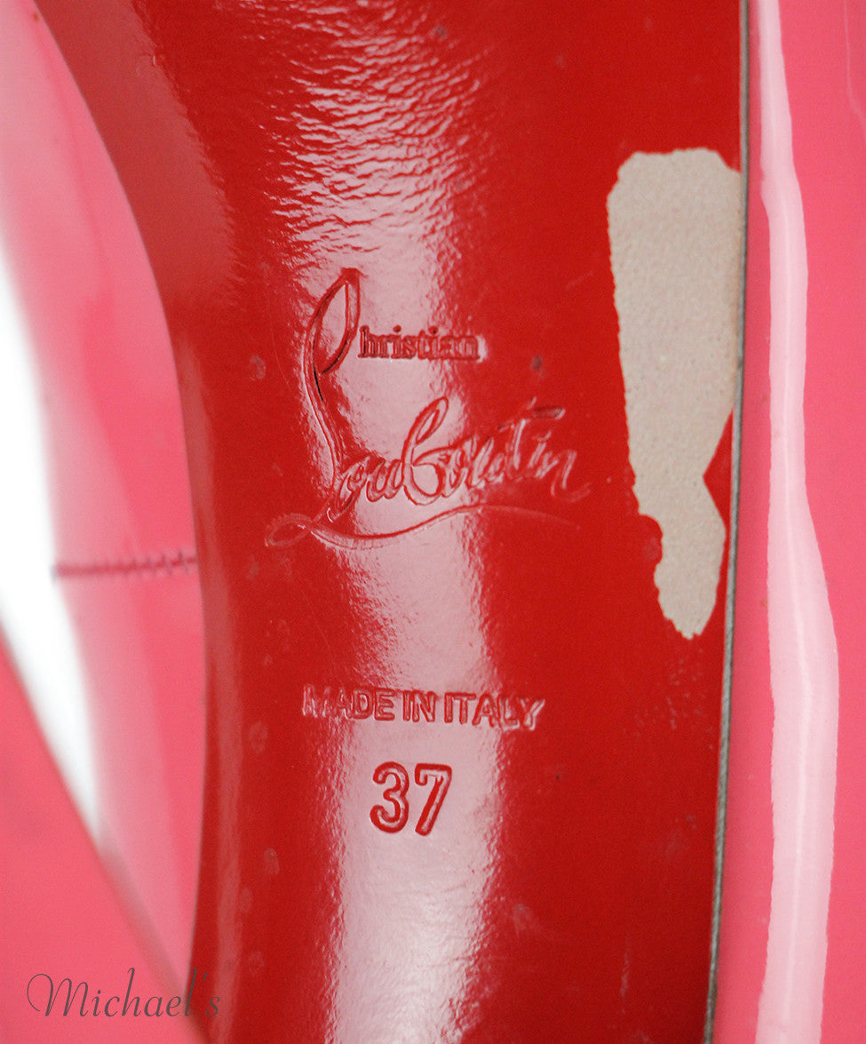 Christian Louboutin Pink Patent Leather Shoes Sz 37